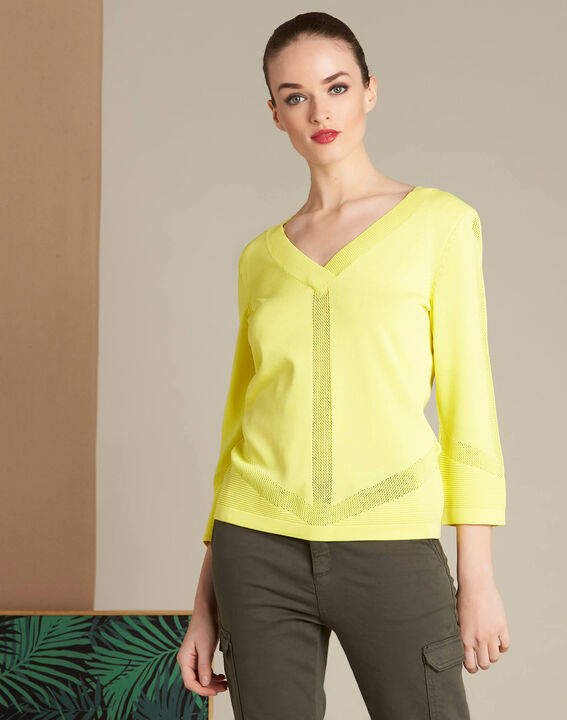 Pull jaune col V et points fantaisies Nymphette (3) - 1-2-3