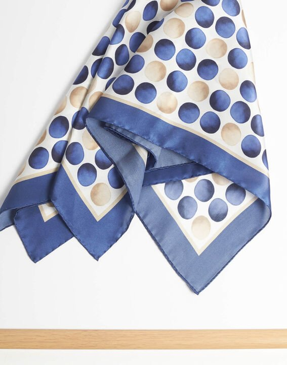 Alexi polka dot blue silk square scarf PhotoZ | 1-2-3