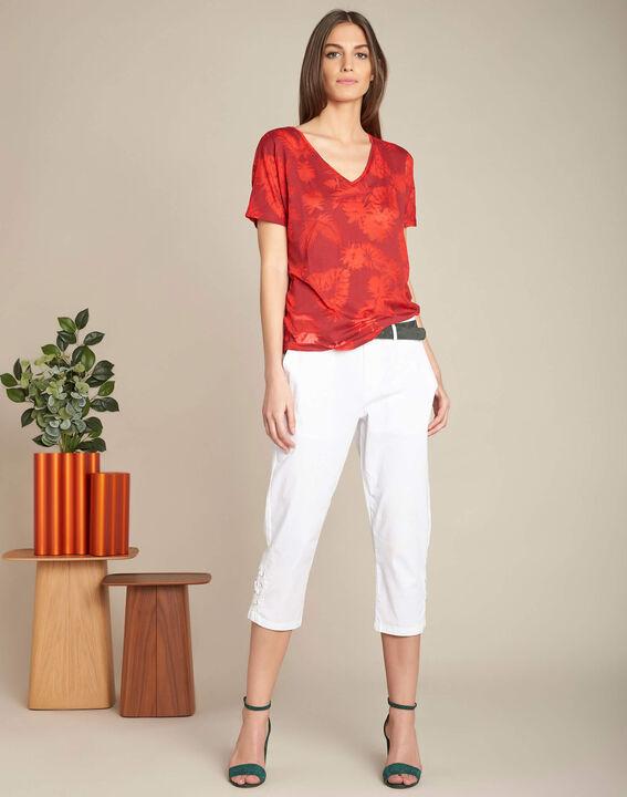 Rotes T-Shirt mit Palmenprint Eflore (2) - 1-2-3