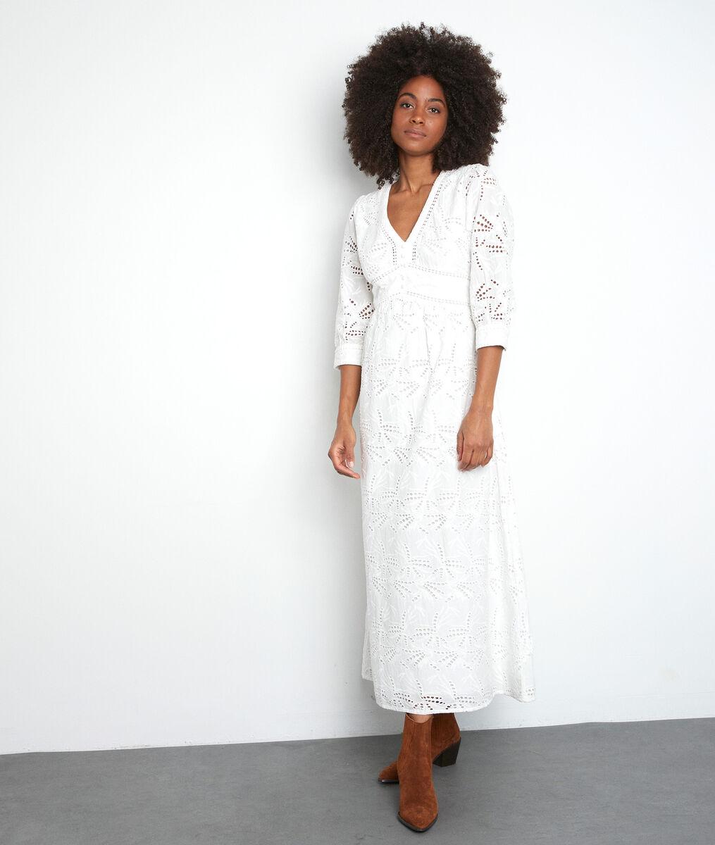 Robe longue blanche brodée Catalia PhotoZ | 1-2-3