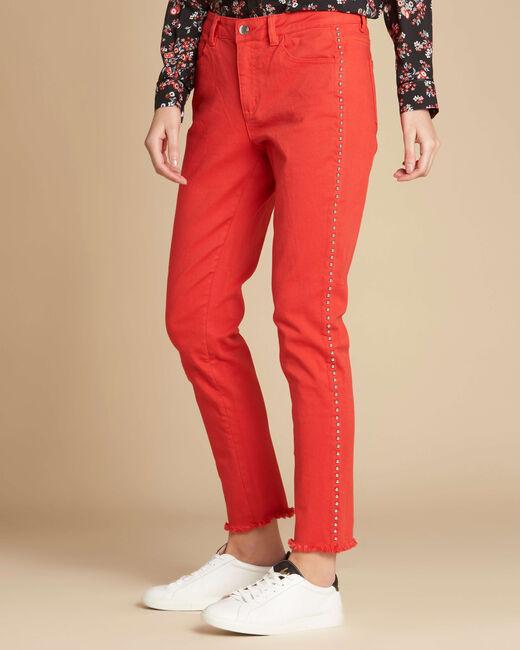 Rote Jeans mit Nieten und ungesäumten Beinabschlüssen Vendome (2) - 1-2-3