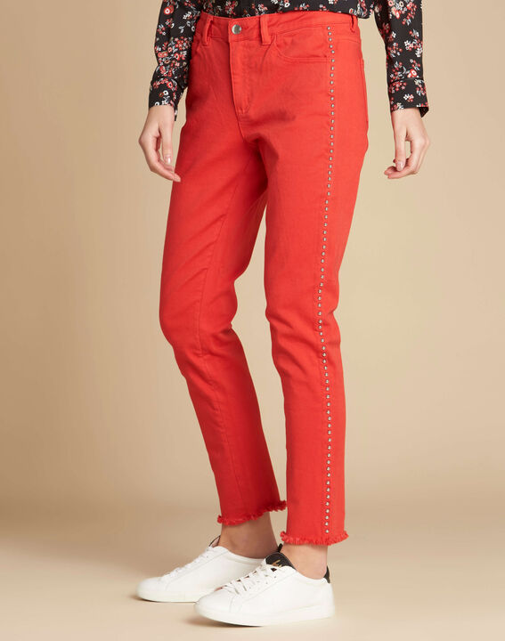 Vendôme red jeans with studded detailing (3) - 1-2-3