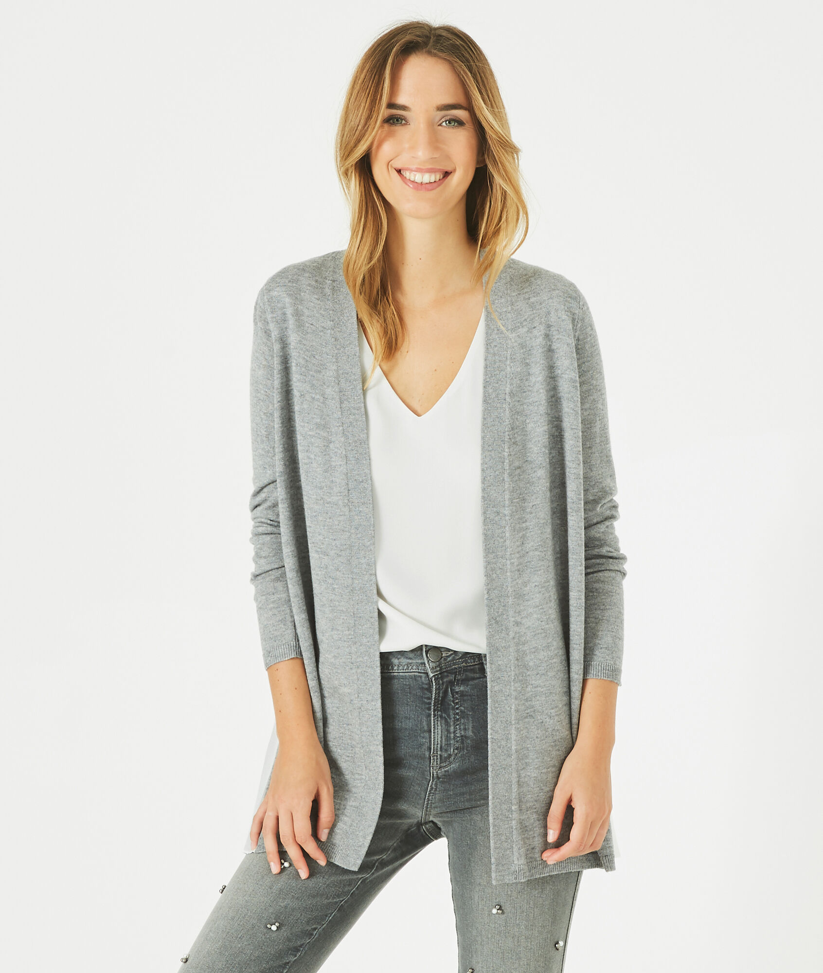 Please marl grey wool-blend waterfall cardigan - 123