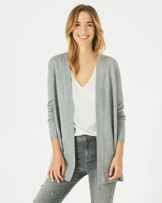 Gilet gris chiné waterfall en laine mélangée Please (2) - 1-2-3