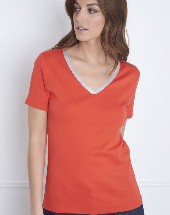 Rotes T-Shirt Halsausschnitt Lurex Etincelant (2) - Maison 123