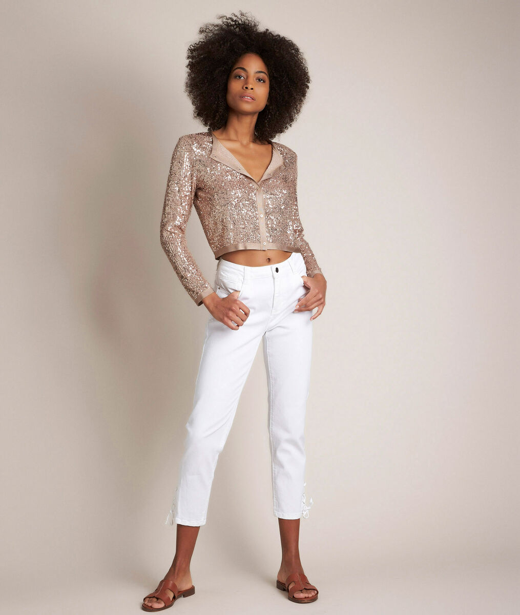 L'iconique slim: jean à lacets blanc Agathe PhotoZ | 1-2-3
