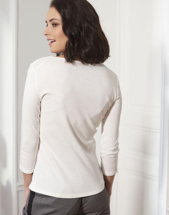 Tee-shirt écru encolure en V oeillets Basic (4) - 1-2-3