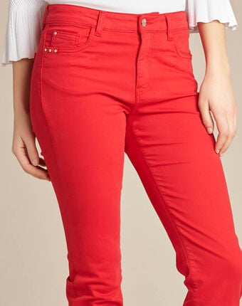 Rote 7/8 slim-fit-jeans normale leibhöhe vendôme rot.