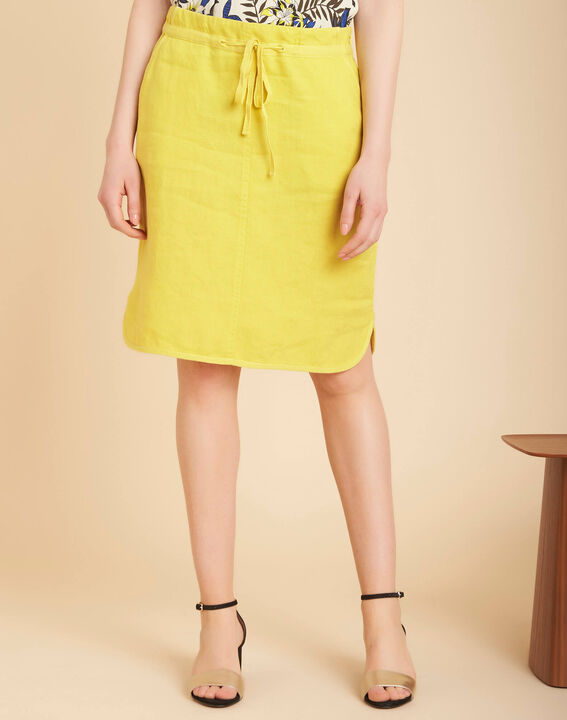 Lumio yellow linen skirt with tie (3) - 1-2-3