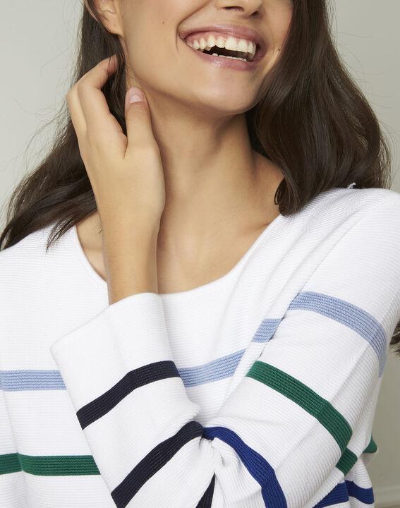 Nacadamia white viscose blend pullover with coloured stripes (4) - Maison 123