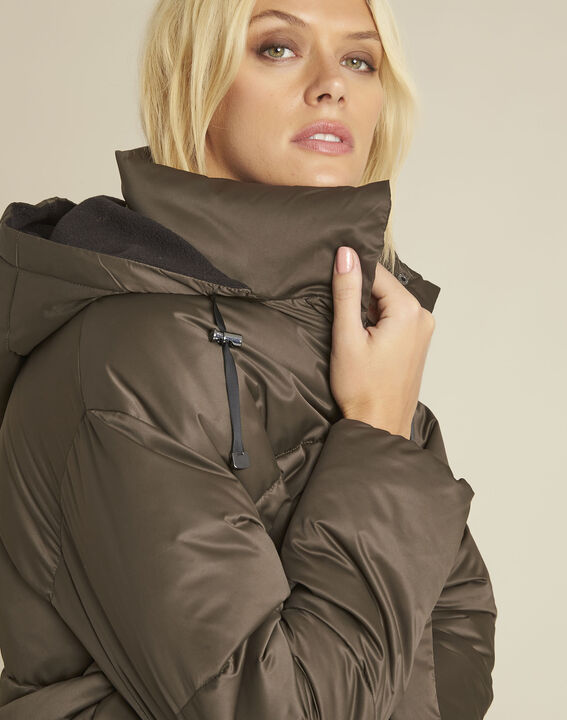Pamela khaki hooded and quilted down jacket (3) - 1-2-3