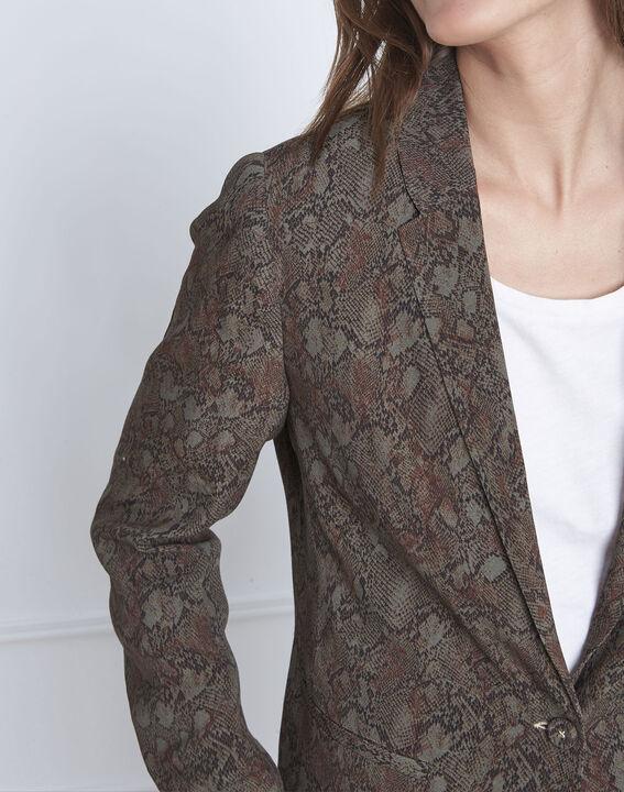 Weich fallende kakifarbene Jacke mit Pythonschlangen-Print Farley (3) - Maison 123