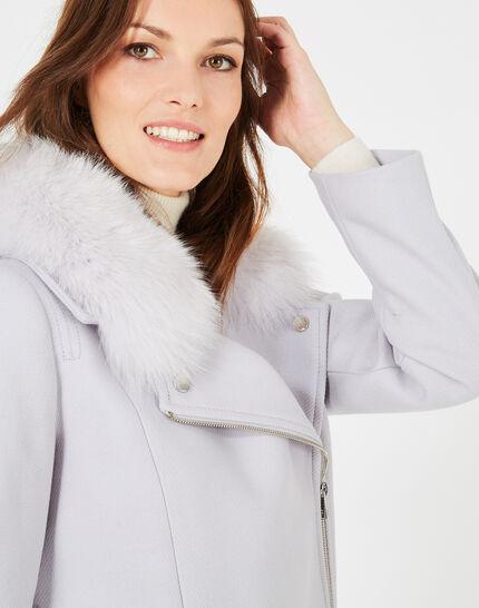 Manteau gris perle en laine mélangée col fourrure Oryanne (3) - 1-2-3