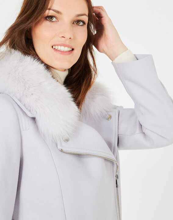Oryanne pearly grey wool-blend coat with fur collar (3) - 1-2-3