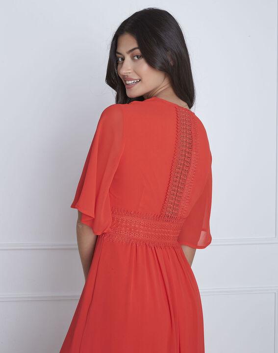 Rotes Makramee-Kleid in Wickel-Optik Helene (4) - Maison 123