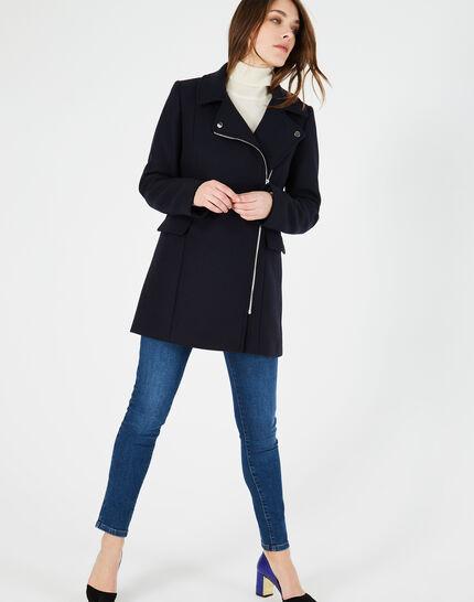 Manteau bleu marine en laine mélangée Oryanne (1) - 1-2-3