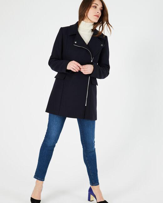 Manteau noir en laine mélangée Oryanne (2) - 1-2-3