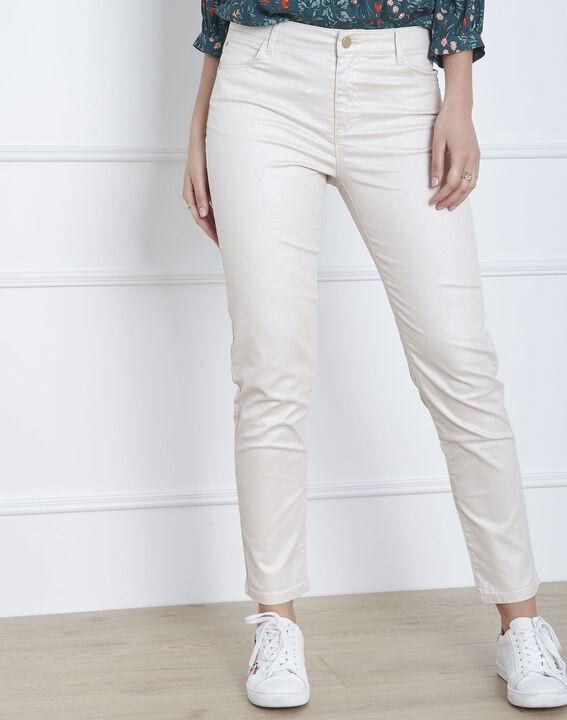 Beigefarbene, schimmernde Slim-Jeans Capucine (2) - Maison 123