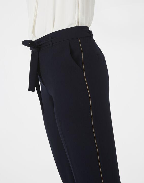 Pantalon bleu marine en crêpe Karoline (4) - 1-2-3