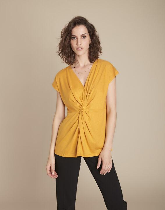Tee-shirt jaune plis effet cache-cœur Carine PhotoZ   1-2-3