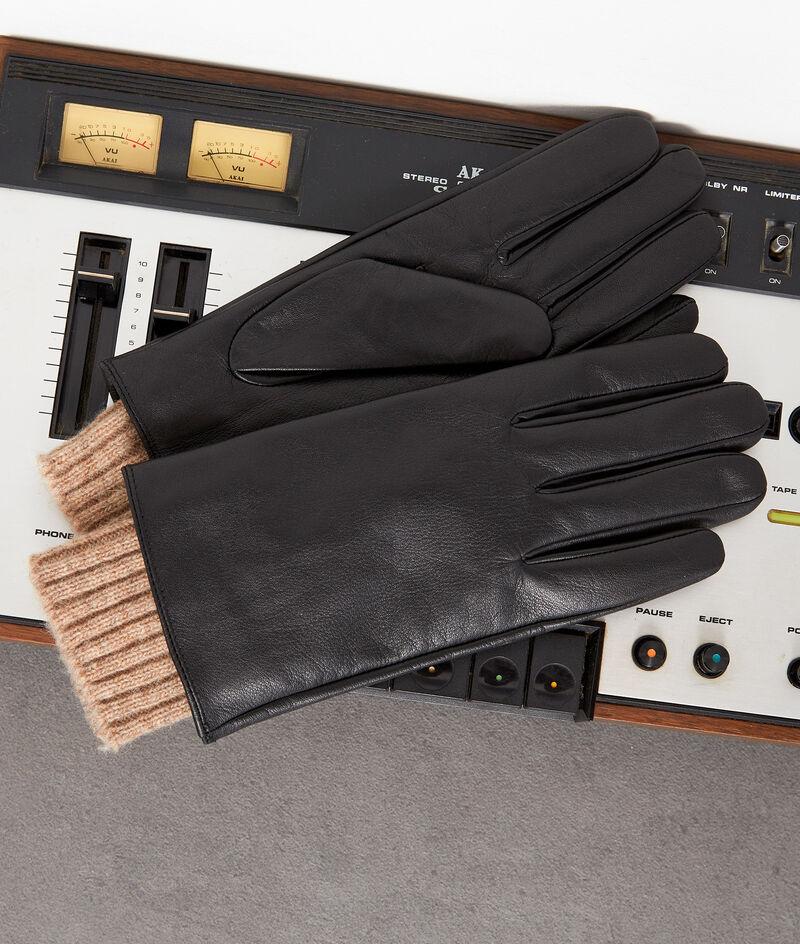 Gants en cuir et laine noirs Wally  PhotoZ | 1-2-3