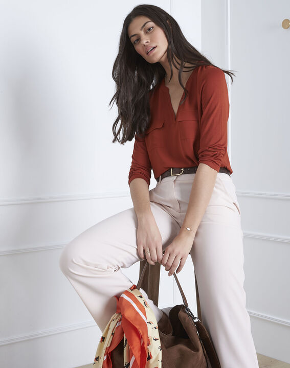 Mahoniebruine blouse uit twee materialen Genna (1) - 37653