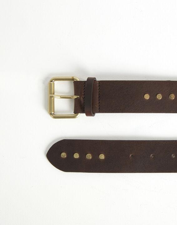Donkerbruine brede riem met studs van leer Rock (2) - 37653