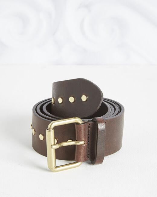 Breiter brauner Ledergürtel mit Nieten Rock (2) - 1-2-3