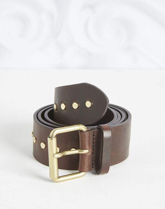 Rock wide dark brown leather studded belt PhotoZ   1-2-3