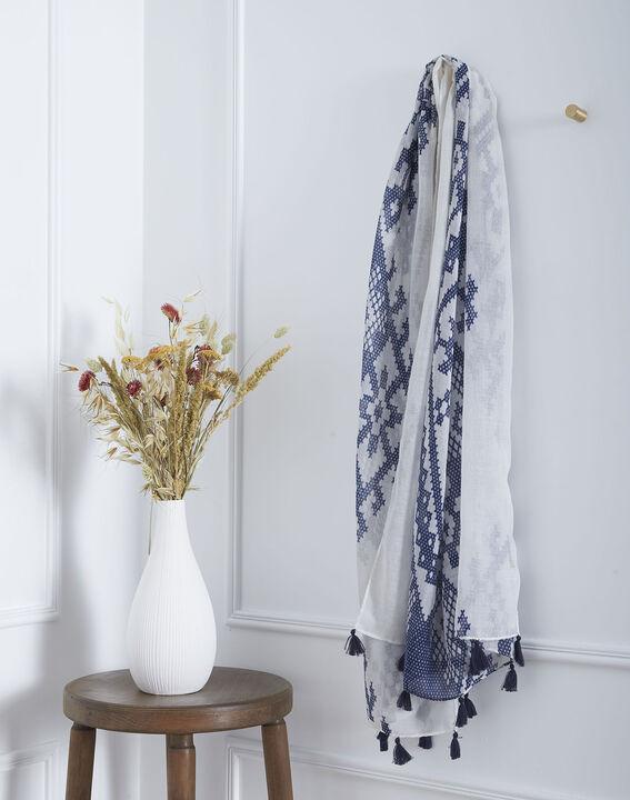 Foulard bleu imprimé à pompons Oriane (1) - Maison 123