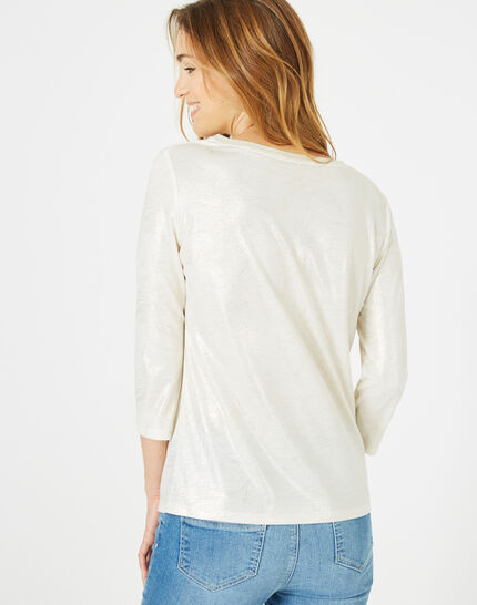 Tee-shirt écru brillant Night (5) - 1-2-3