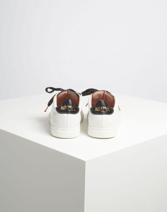Baskets blanches sérigraphie dorée en cuir Kennedy (5) - 1-2-3
