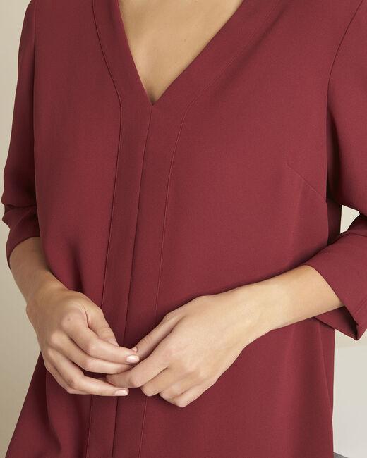 Robijnrode jurk met zakken van crêpe Devy (1) - 37653