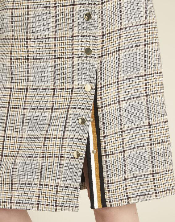 Abel check skirt with side slit (3) - 1-2-3