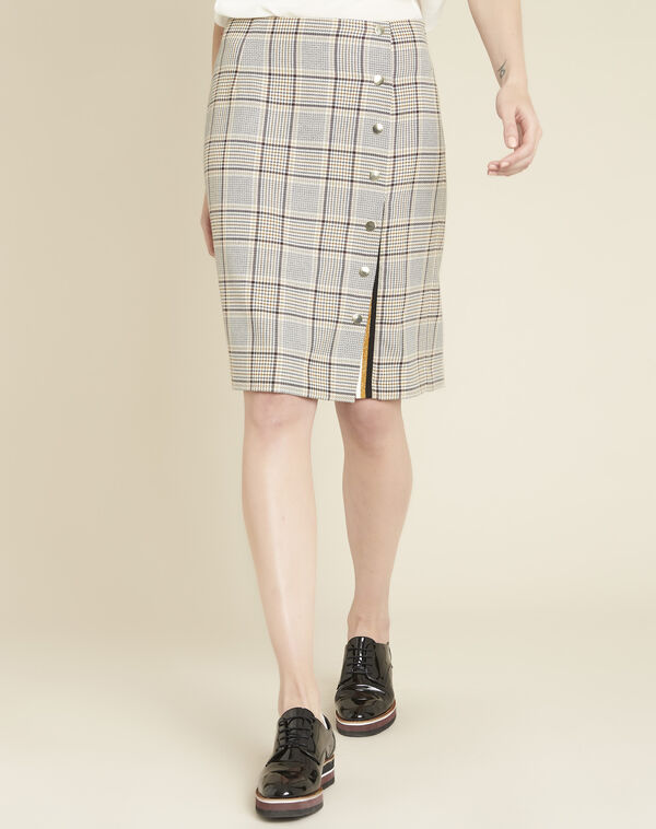 Abel check skirt with side slit (1) - 1-2-3