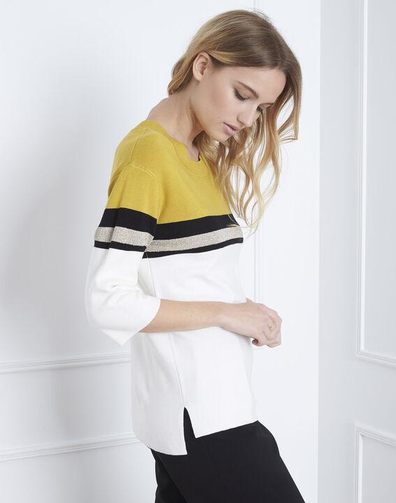 Pull jaune rayé colorblock Absynthe (4) - Maison 123