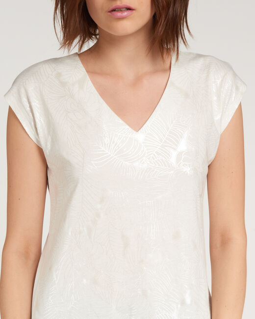 Tee-shirt écru imprimé fleuri Nalma (2) - 1-2-3