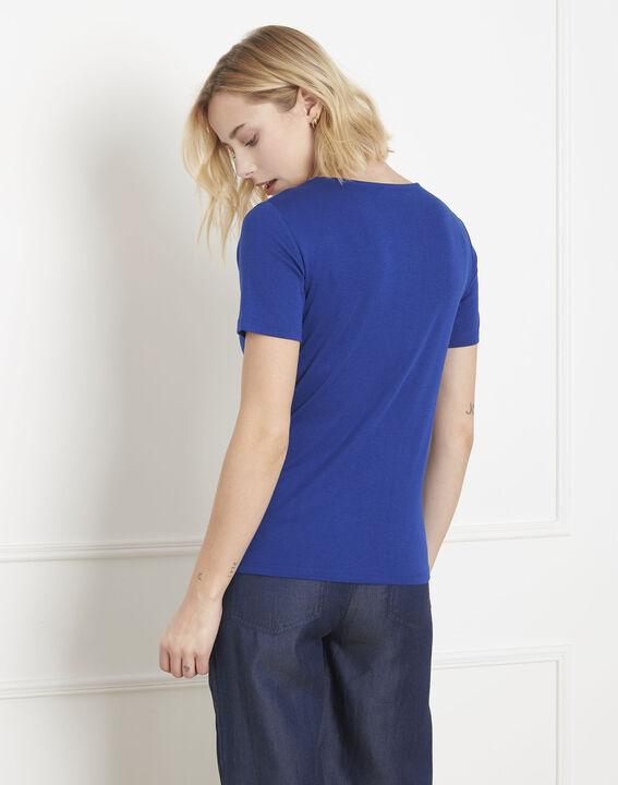 Blaues T-Shirt mit Lurex-Ausschnitt Etincelante (4) - Maison 123