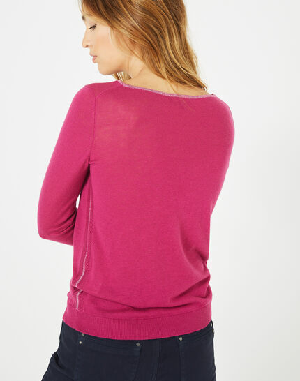 Pétillant raspberry sweater with metallic threading (5) - 1-2-3