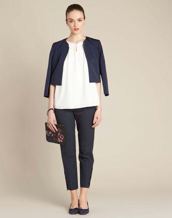 Pantalon de tailleur marine à pinces détails dentelle valero marine.