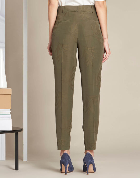 Vada khaki trousers with jacquard palm print (4) - 1-2-3