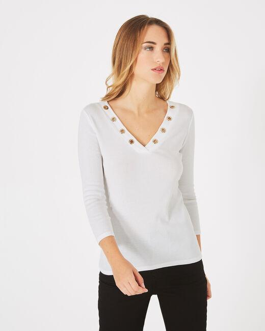 Tee-shirt blanc cassé col V à oeillets Basic (2) - 1-2-3