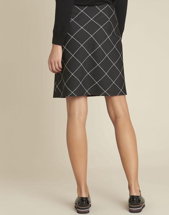 Zwarte trapezium jurk met ruitjes Alixia (4) - 37653