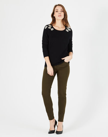 Plume black sweater with floral embroidery (1) - 1-2-3