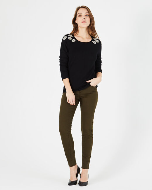 Plume black sweater with floral embroidery (2) - 1-2-3