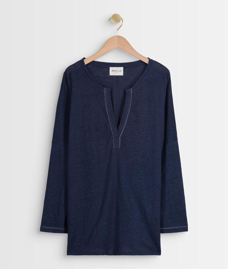 Tee-shirt en lin responsable certifié marine Ilea PhotoZ | 1-2-3