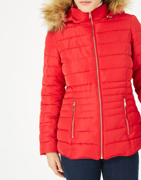 Rosie short red puffer jacket with hood (4) - 1-2-3