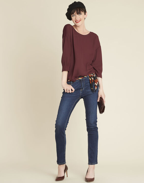 Cleo red dual-fabric blouse with frilled detailing (3) - 1-2-3