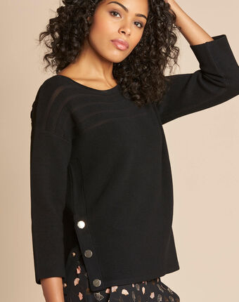 Hypnose black sweater with sheer stripes black.