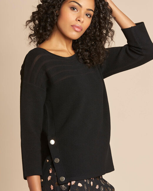 Hypnose black sweater with sheer stripes (2) - 1-2-3